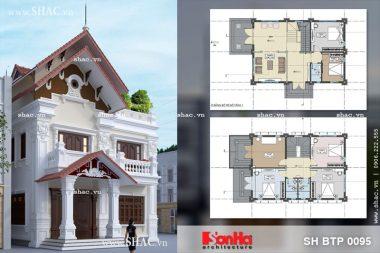 Thiết kế kiến trúc biệt thự Pháp 2 tầng đẹp tại Tiên Lãng Hải Phòng sh btp 0095