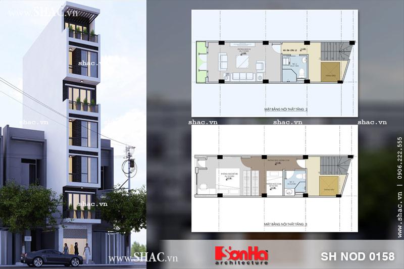 Thiết kế kiến trúc nhà ống hiện đại 7 tầng tại Quảng Ninh sh nod 0158
