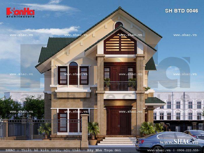 Thiết kế biệt thự hiện đại 2 tầng tại Hưng Yên sh btd 0046