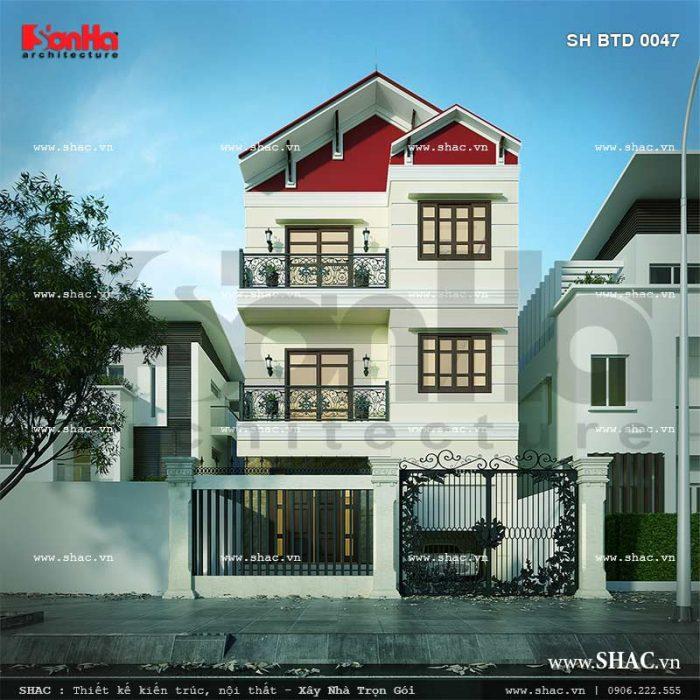 Toàn cảnh kiến trúc không gian biệt thự hiện đại rạng ngời với mái ngói đỏ, sở hữu mặt tiền 7.5m