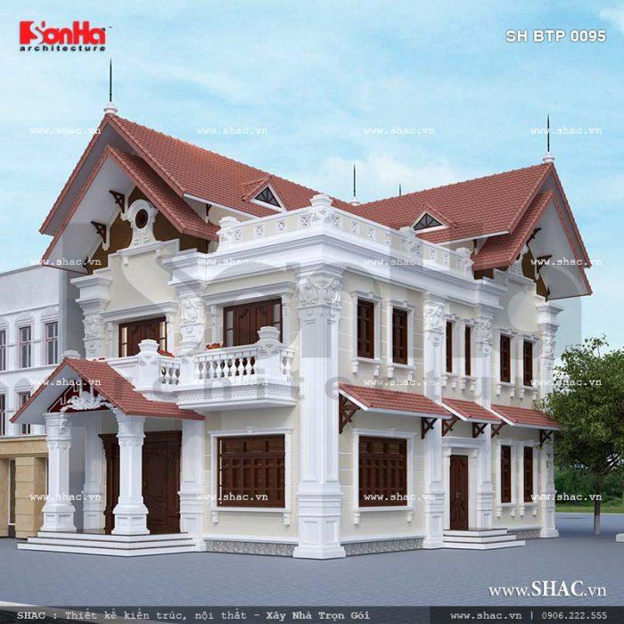 Thiết kế kiến trúc biệt thự Pháp 2 tầng tại Tiên Lãng Hải Phòng sh btp 0095