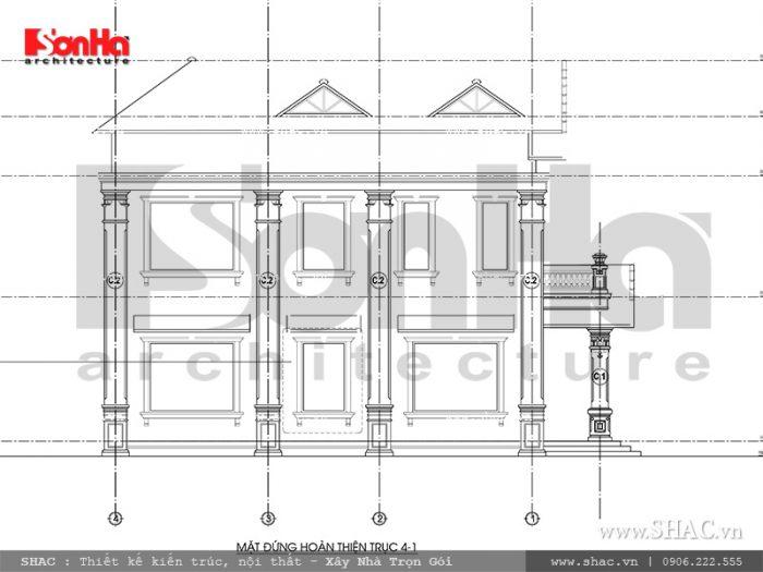 Mặt đứng 4-1 biệt thự kiến trúc Pháp tại Tiên Lãng Hải Phòng sh btp 0095