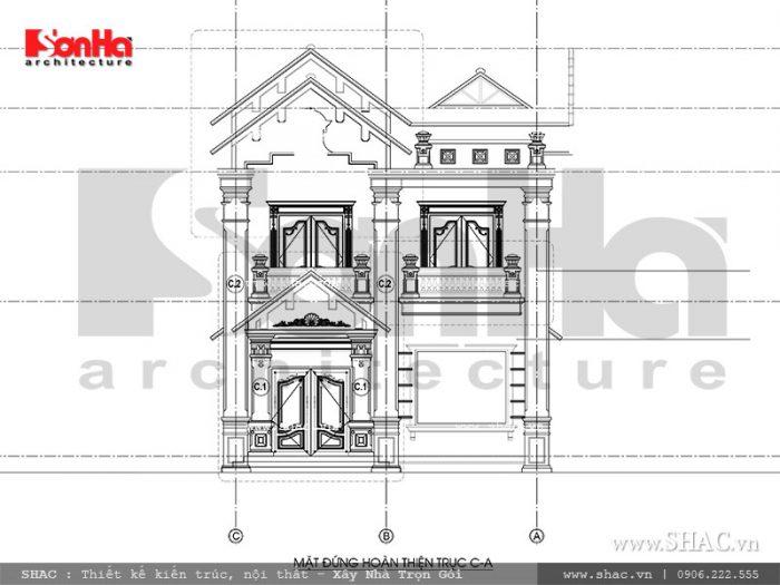 Mặt đứng C biệt thự kiến trúc Pháp tại Tiên Lãng Hải Phòng sh btp 0095