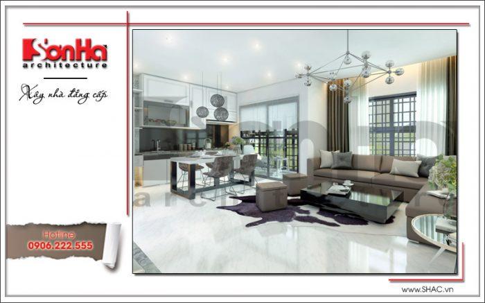 mẫu phòng khách và bếp ăn đẹp hiện đại 2018