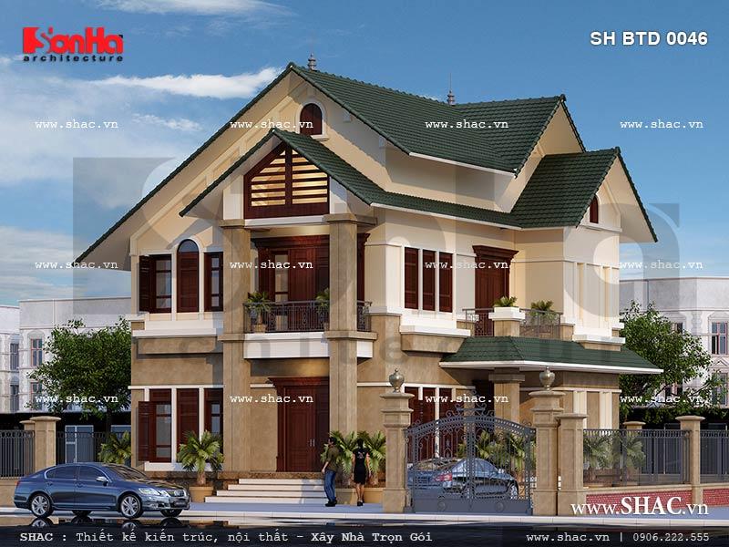 Mẫu thiết kế biệt thự hiện đại 2 tầng tại Hưng Yên sh btd 0046
