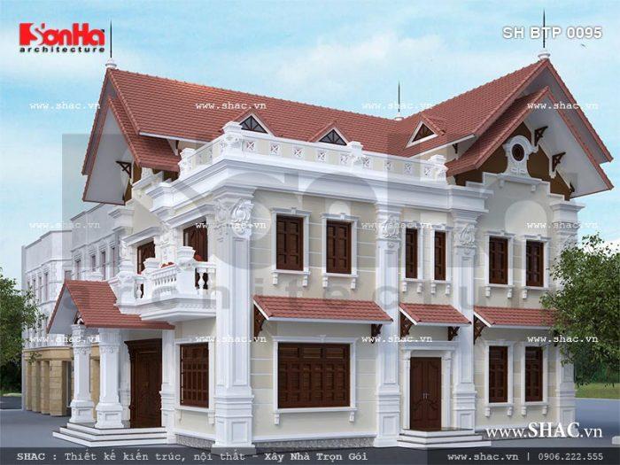 Thiết kế mẫu biệt thự kiểu Pháp 2 tầng tại Hải Phòng có kiến trúc cổ điển nổi bật với hệ mái ngói đỏ đẹp