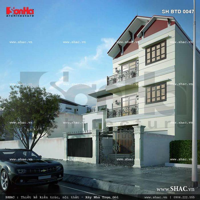 Thiết kế biệt thự hiện đại 3 tầng tại Hải Phòng sh btd 0047