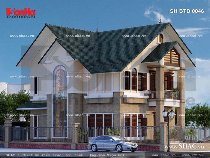 Còn đây là phương án thiết kế kiến trúc mặt sau của ngôi biệt thự 2 tầng thiết kế đẹp và tinh tế
