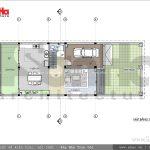 Thiết kế mặt bằng tầng 1 biệt thự hiện đại 3 tầng tại Hải Phòng sh btd 0047