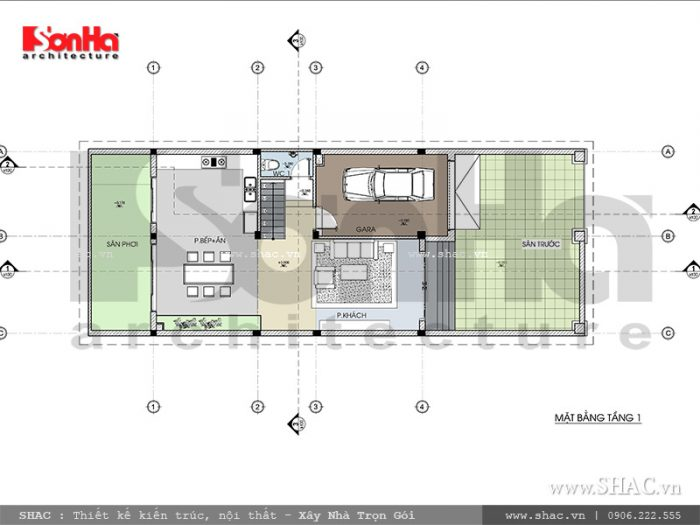 Quy hoạch công năng sinh hoạt tại tầng 1 của biệt thự hiện đại khá ngăn nắp thông qua diện tích sàn 150m2