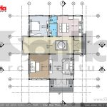 Mặt bằng tầng 1 biệt thự 2 tầng tại Hưng Yên sh btd 0046