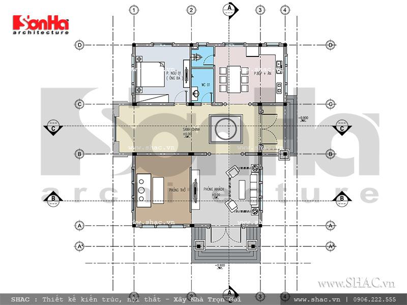 Mặt bằng tầng 1 biệt thự sh btd 0046