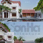 Mẫu thiết kế biệt thự cổ điển 2 tầng mái ngói đỏ tại Tiên Lãng Hải Phòng sh btp 0095