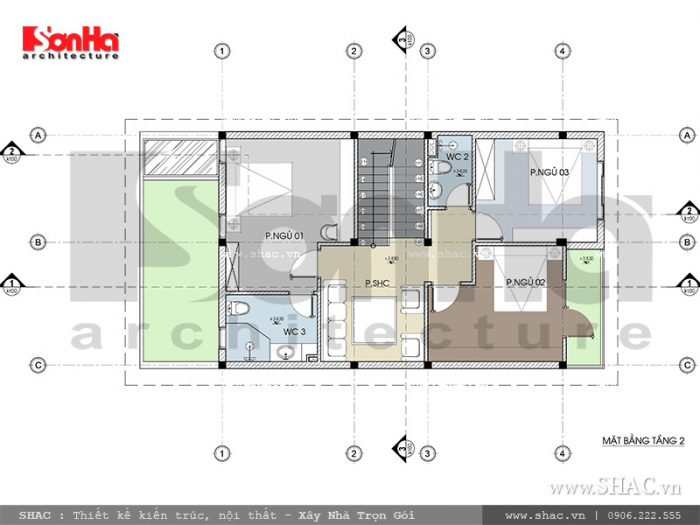 Bản vẽ mặt bằng tầng 2 được phân chia cho 3 phòng ngủ rộng, cùng 1 phòng sinh hoạt chung thoáng đãng