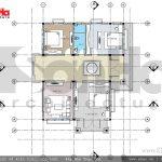 Mặt bằng tầng 2 biệt thự 2 tầng tại Hưng Yên sh btd 0046