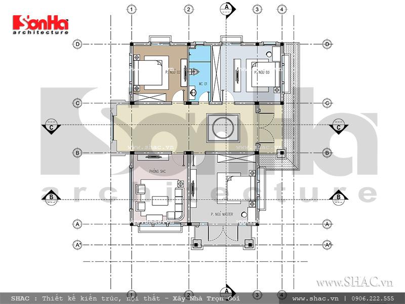 Mặt bằng tầng 2 biệt thự SH BTD 0046