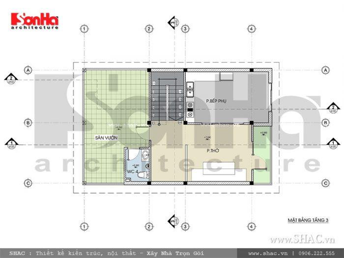 Bản vẽ mặt bằng chi tiết của tầng 3 biệt thự hiện đại mái ngói đỏ bắt mắt được phân khu sân vườn, phòng thờ, phòng bếp phụ…