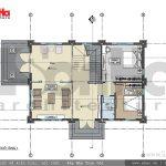 Mặt bằng tầng 1 biệt thự kiến trúc Pháp tại Tiên Lãng Hải Phòng sh btp 0095