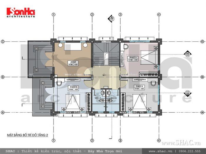 Mặt bằng tầng 2 biệt thự kiến trúc Pháp tại Tiên Lãng Hải Phòng sh btp 0095