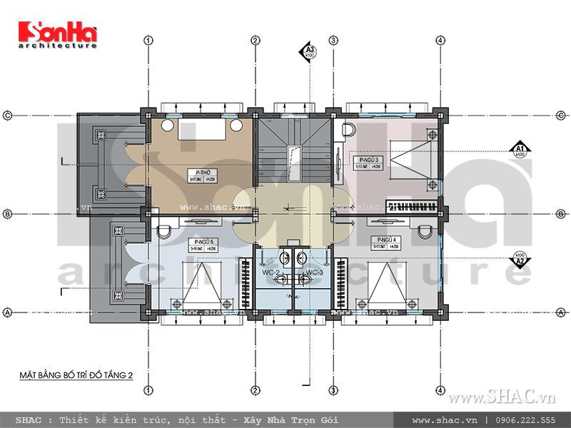 Mẫu thiết kế biệt thự kiến trúc Pháp 2 tầng tại Hải Phòng - SH BTP 0095 11
