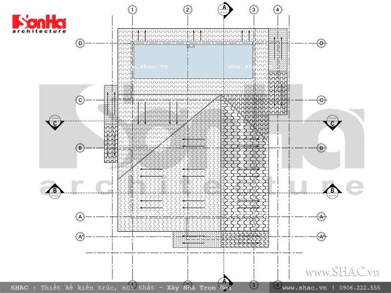Mặt bằng tầng mái biệt thự 2 tầng tại Hưng Yên sh btd 0046