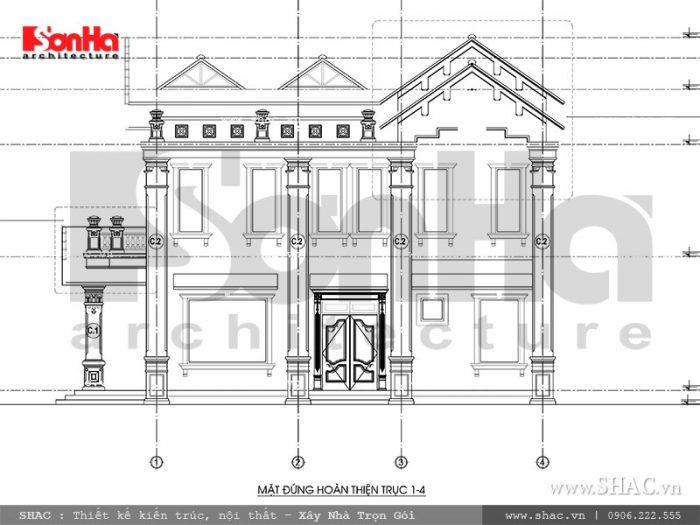 Mặt đứng 1-4 biệt thự kiến trúc Pháp tại Tiên Lãng Hải Phòng sh btp 0095