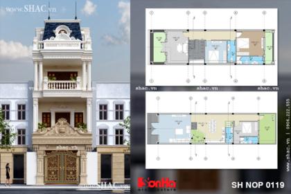 Phương án thiết kế kiến trúc và mặt bằng công năng nhà phố kiến trúc Pháp 4 tầng sh nop 0119