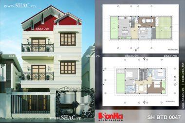 Thiết kế kiến trúc biệt thự hiện đại 3 tầng tại Hải Phòng sh btd 0047