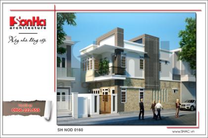 Thiết kế nhà phố hiện đại 2 tầng đẹp tại Cẩm Phả Quảng Ninh sh nod 0160