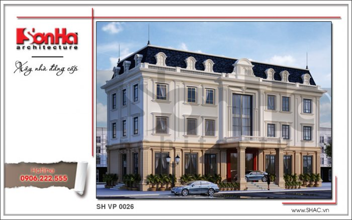 Mặt tiền đẹp của mẫu thiết kế tòa nhà văn phòng kiến trúc cổ điển 4 tầng sang trọng từ mọi góc