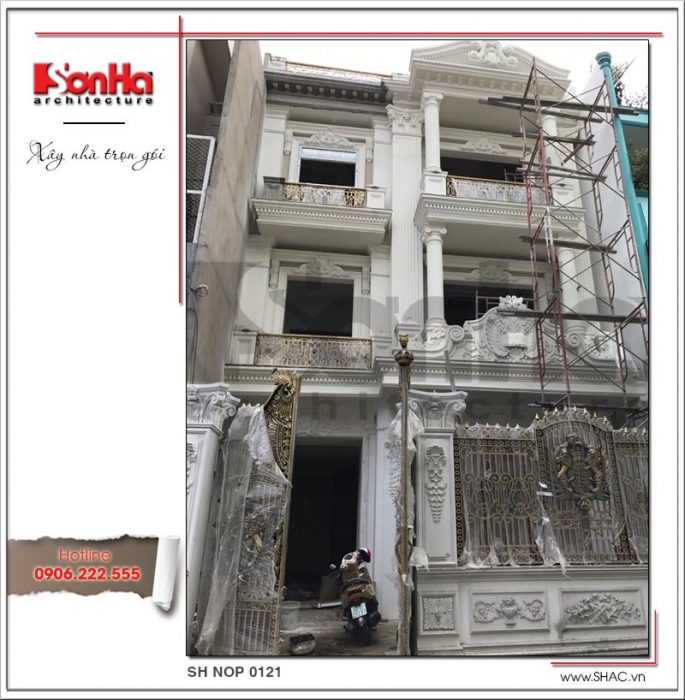 1 Ảnh thực tế thi công kiến trúc mặt tiền nhà ống pháp tại sài gòn sh nop 0121