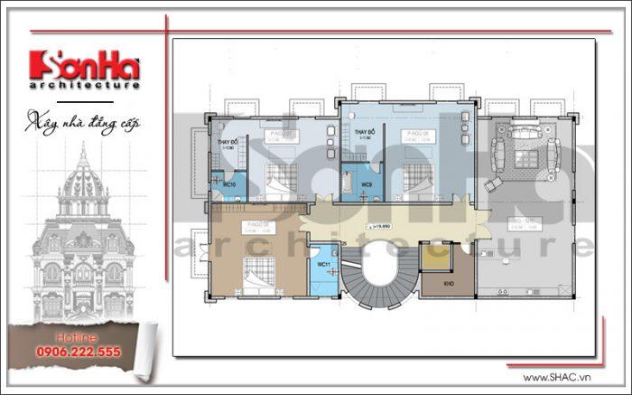 Cách bố trí công năng mặt bằng tầng 5 biệt thự kiến trúc cổ điển Pháp SHAC được đánh giá cao