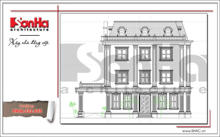 Bản vẽ thể hiện mặt ngang bên trái của mẫu tòa nhà văn phòng thiết kế cổ điển tại Quảng Ninh