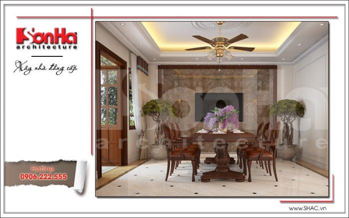 Không gian nội thất phòng bếp ăn biệt thự gây thiện cảm bởi màu sắc tinh tế và hợp thời của SHAC