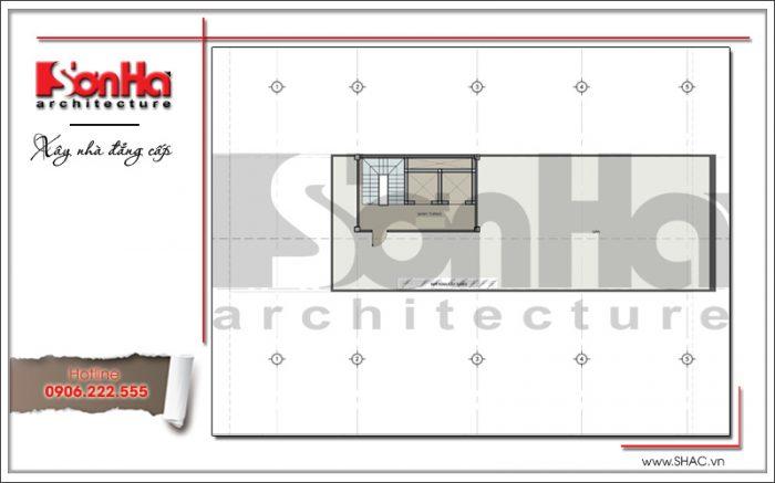 Thiết kế mặt bằng tầng Tum tòa nhà văn phòng đẹph 7 tầng tại Sài Gòn sh vp 0025
