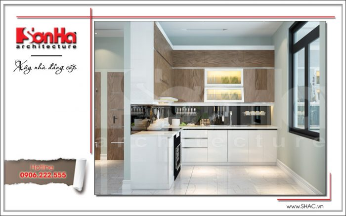 Mẫu phòng bếp nhỏ gọn thuận tiện được thiết kế nội thất hiện đại đơn giản của biệt thự tại Đà Nẵng
