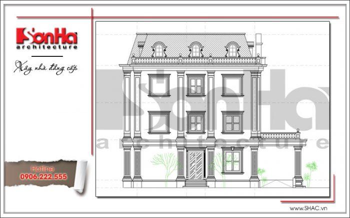 Bản vẽ thể hiện mặt ngang bên phải của công trình tòa nhà văn phòng thiết kế cổ điển đẹp SHAC