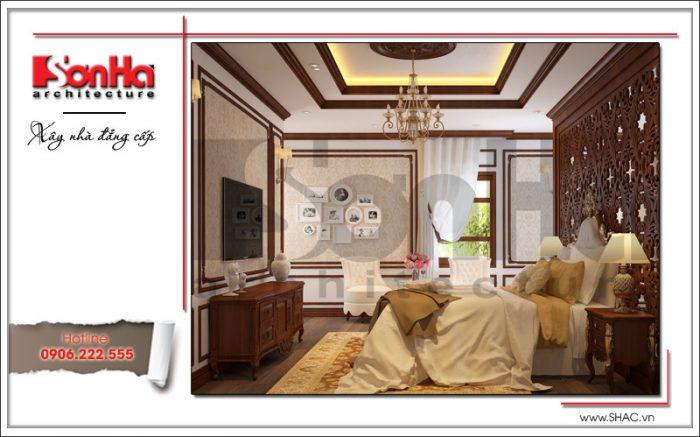 Thiết kế nội thất phòng ngủ biệt thự lâu đài sang trọng, lịch lãm trong không gian đầy đủ ánh sáng