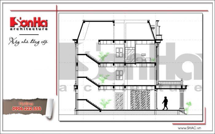 Mặt cắt B-B văn phòng kiến trúc cổ điển 4 tầng tại Cẩm Phả - Quảng Ninh sh vp 0026