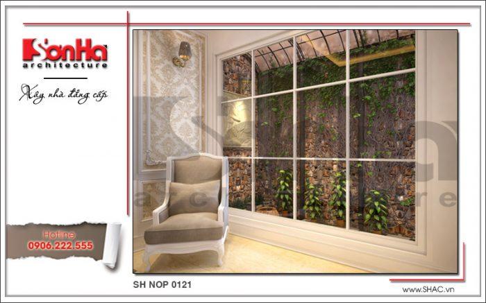 Thiết kế tiểu cảnh sân vườn đẹp nhà phố kiến trúc Pháp sh nop 0121