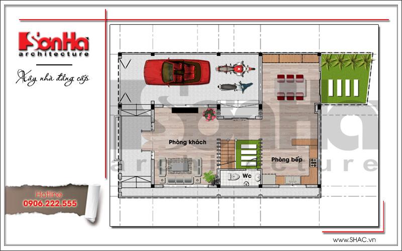 Mặt bằng công năng tầng 1 biệt thự hiện đại tại Sở Dầu - Hải Phòng sh btd 0049