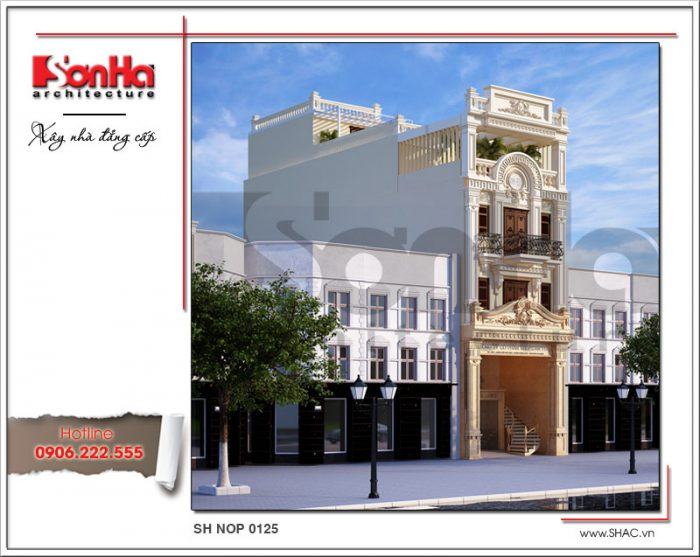 Mẫu thiết kế kiến trúc nhà phố cổ điển 4 tầng tại Nam Định đẹp sang trọng sh nop 0125