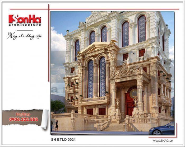 Thiết kế kiến trúc biệt thự lâu đài cổ điển Pháp sh btld 0024