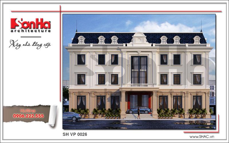 Thiết kế văn phòng đẹp kiến trúc cổ điển 4 tầng đẹp nhất tại Cẩm Phả - Quảng Ninh sh vp 0026