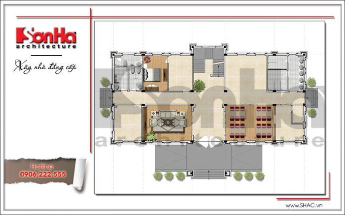 Mặt bằng công năng tầng 1 văn phòng kiến trúc cổ điển 4 tầng tại Cẩm Phả - Quảng Ninh sh vp 0026