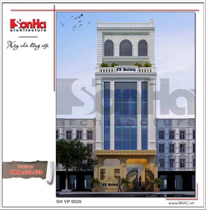Mặt sau mẫu thiết kế tòa nhà văn phòng đẹp 7 tầng tai Sai Gon sh vp 0025