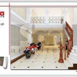 Nội thất gara thông thoáng rộng đẹp nhà phố cổ điển sh nop 0125