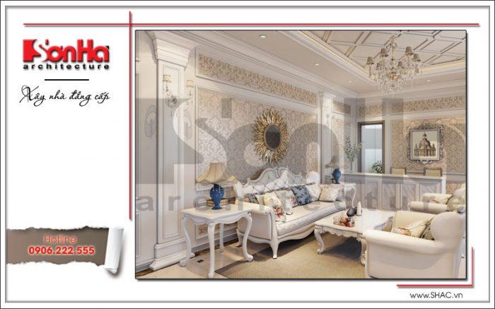 Thiết kế nội thất phòng khách nhà phố cổ điển đẹp mắt với cách bố trí sofa hài hòa cân đối
