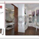 Thiết kế nội thất phòng thay đồ nhà ống hiện đại tại Quảng Ninh sh nod 0159