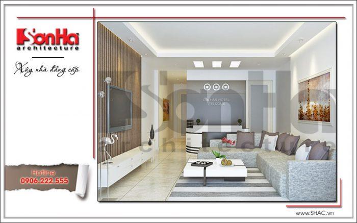 Trong một diện tích nhỏ không gian nội thất quầy lễ tân khách sạn 3 sao được bày trí gọn gàng, ngăn nắp